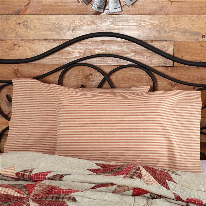 Ozark Red Ticking Stripe Standard Pillow Case Set of 2 21x30 Thumbnail