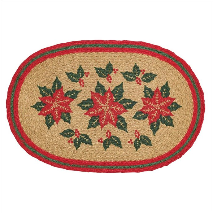 Poinsettia Jute Placemat Set of 6 12x18 Thumbnail