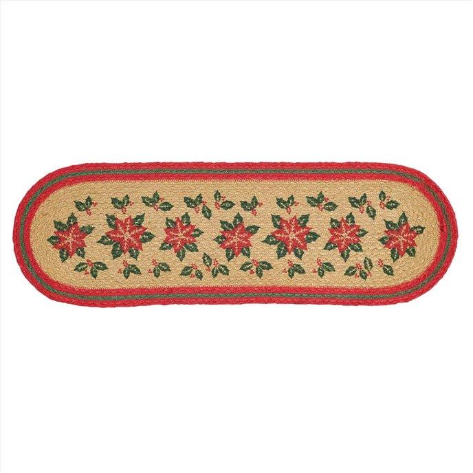 Poinsettia Jute Stair Tread Oval Latex 8.5x27 Thumbnail