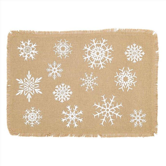 Snowflake Burlap Natural Placemat Set of 6 12x18 Thumbnail