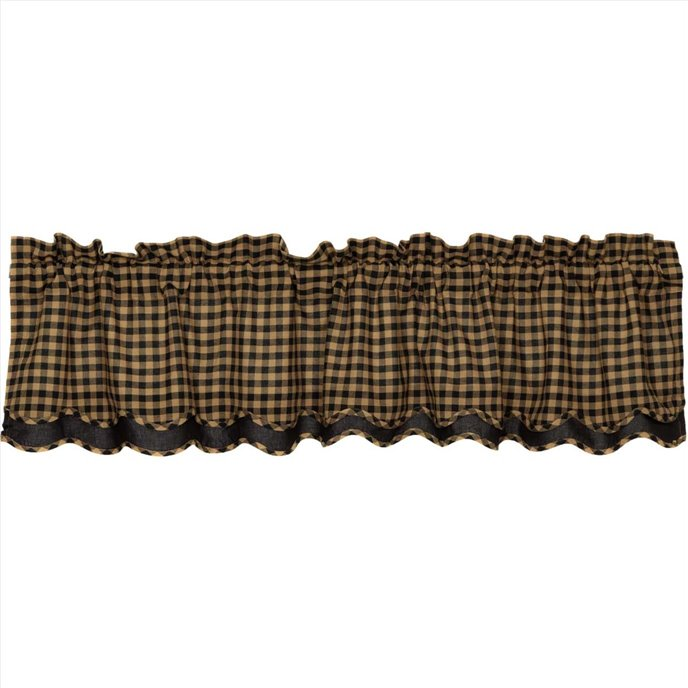 Black Check Scalloped Layered Valance 16x72 Thumbnail