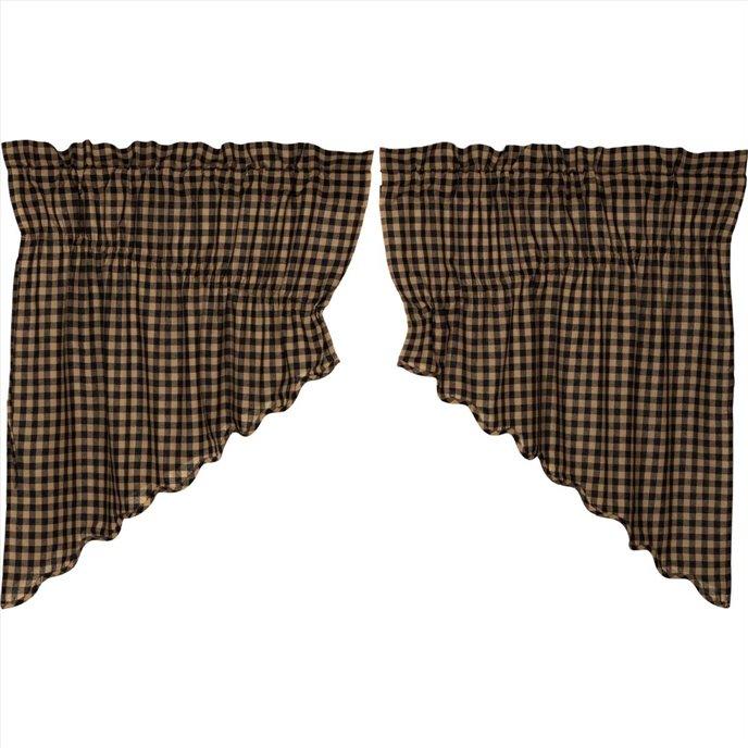 Black Check Scalloped Prairie Swag Set of 2 36x36x18 Thumbnail