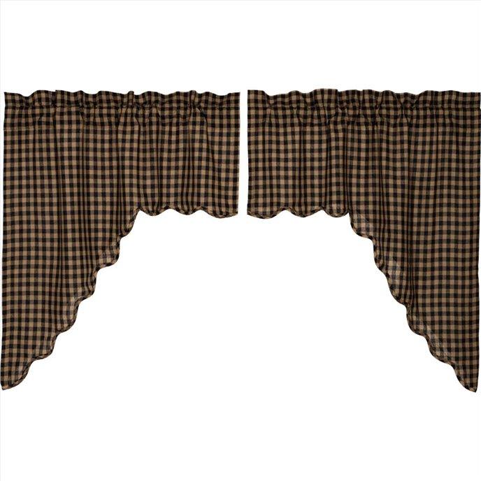 Black Check Scalloped Swag Set of 2 36x36x16 Thumbnail