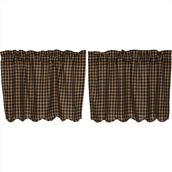Black Check Scalloped Tier Set of 2 L24xW36 Thumbnail