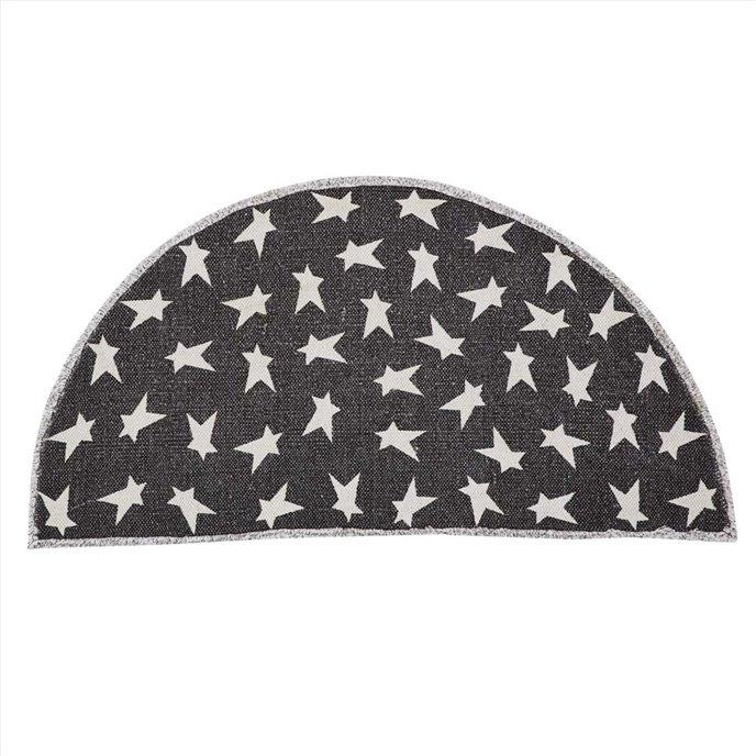 Black Primitive Star Rug Half Circle 16.5x33 Thumbnail