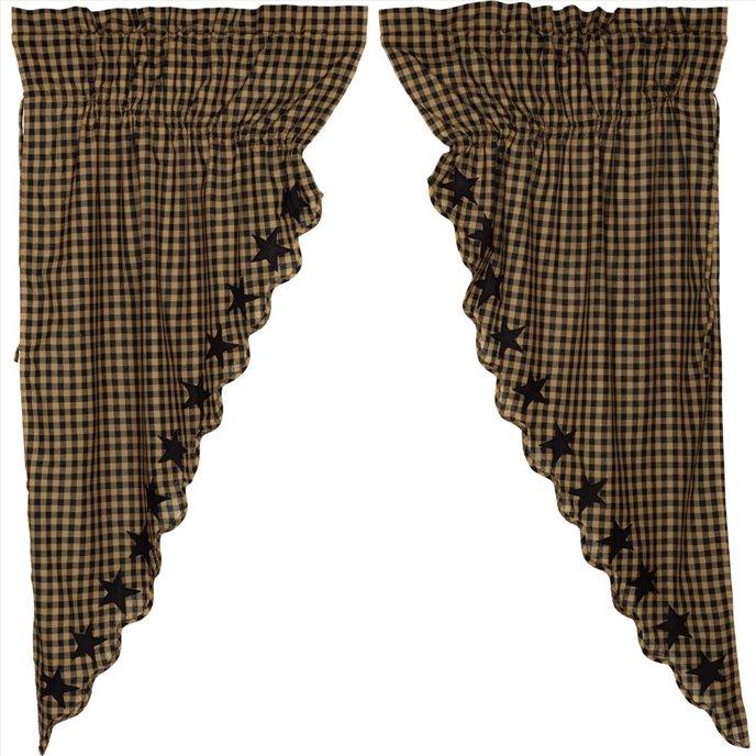 Black Star Scalloped Prairie Short Panel Set of 2 63x36x18 Thumbnail