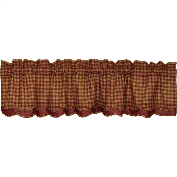 Burgundy Check Scalloped Layered Valance 16x72 Thumbnail