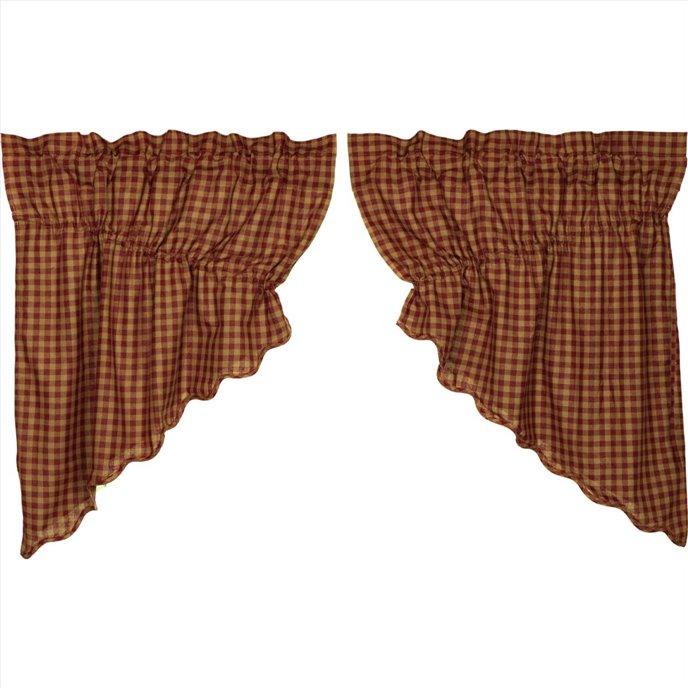 Burgundy Check Scalloped Prairie Swag Set of 2 36x36x18 Thumbnail
