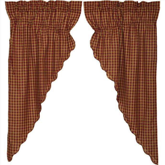 Burgundy Check Scalloped Prairie Short Panel Set of 2 63x36x18 Thumbnail