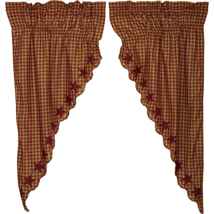 Burgundy Star Scalloped Prairie Short Panel Set of 2 63x36x18 Thumbnail