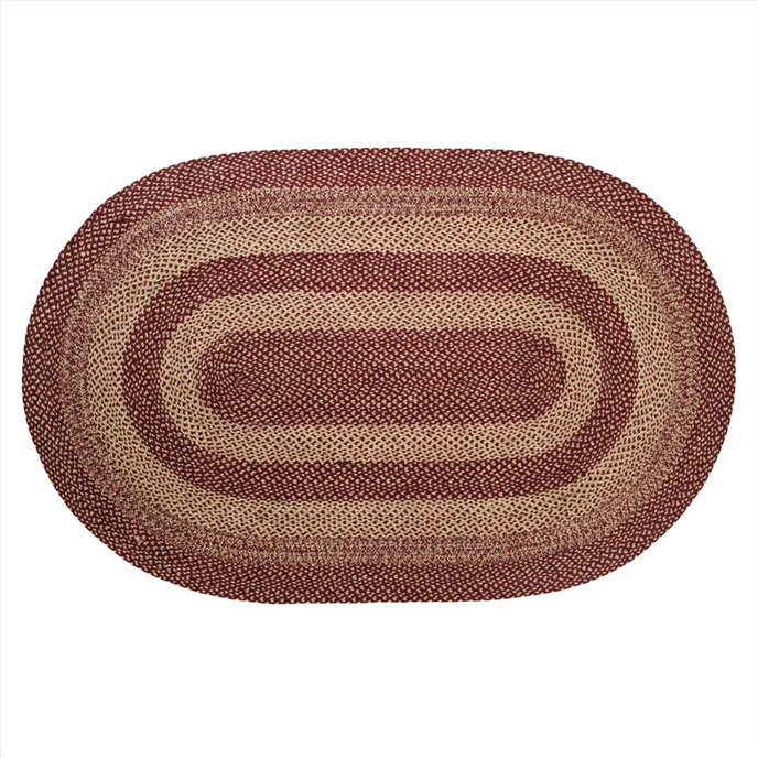 Burgundy Tan Jute Rug Oval 60x96 Thumbnail
