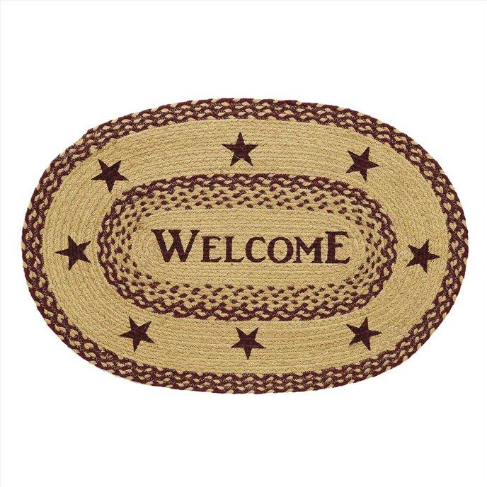 Burgundy Tan Jute Rug Oval Welcome 20x30 Thumbnail