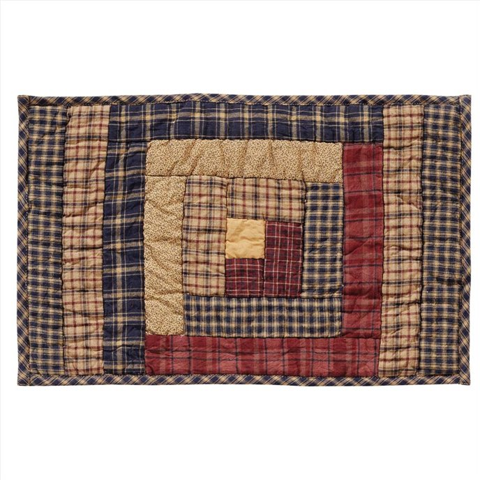 Millsboro Placemat Log Cabin Block Quilted Set of 6 12x18 Thumbnail