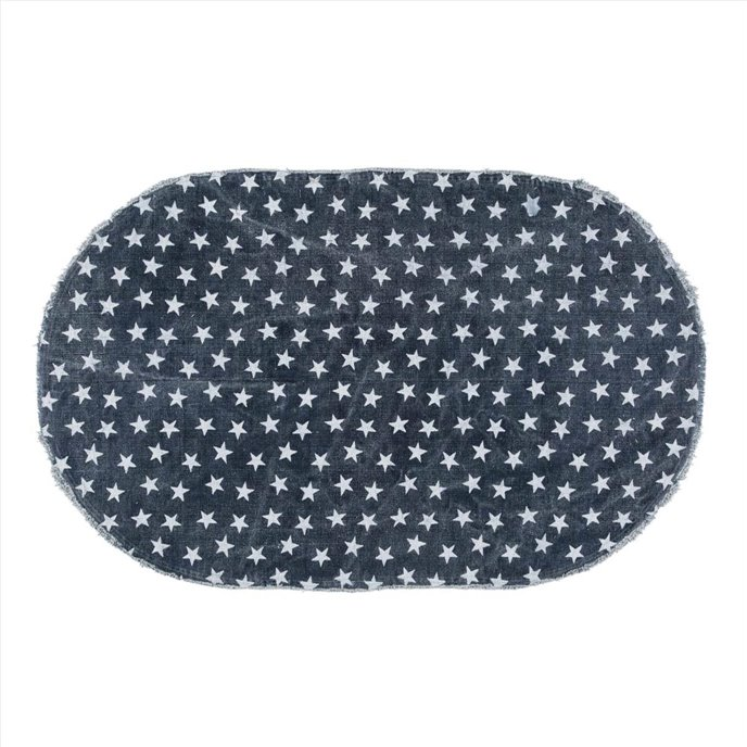 Multi Star Navy Cotton Rug Oval 36x60 Thumbnail