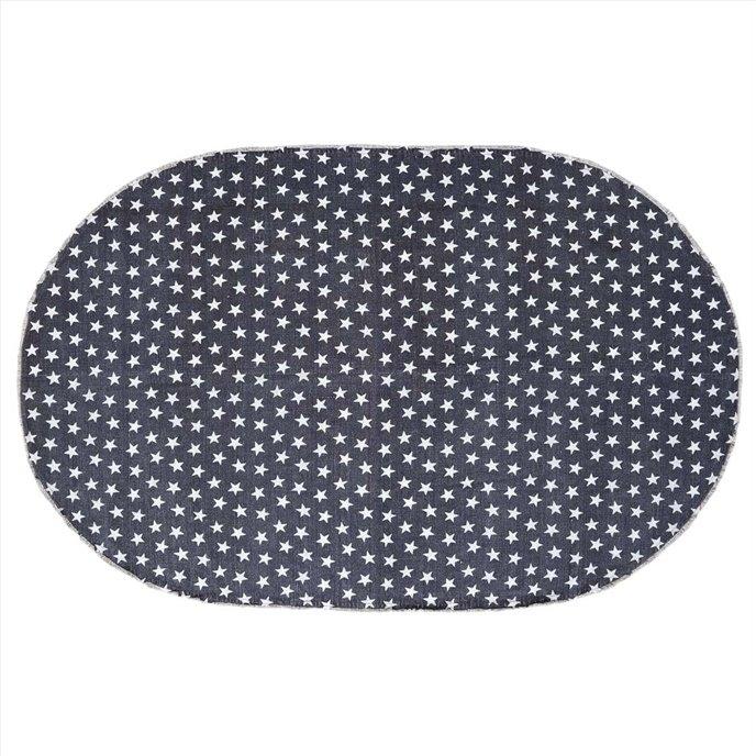 Multi Star Navy Cotton Rug Oval 60x96 Thumbnail
