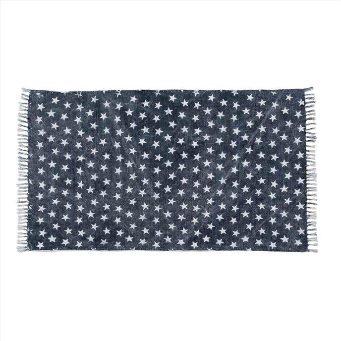 Multi Star Navy Cotton Rug Rect 36x60 Thumbnail