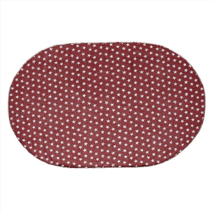 Multi Star Red Cotton Rug Oval 60x96 Thumbnail