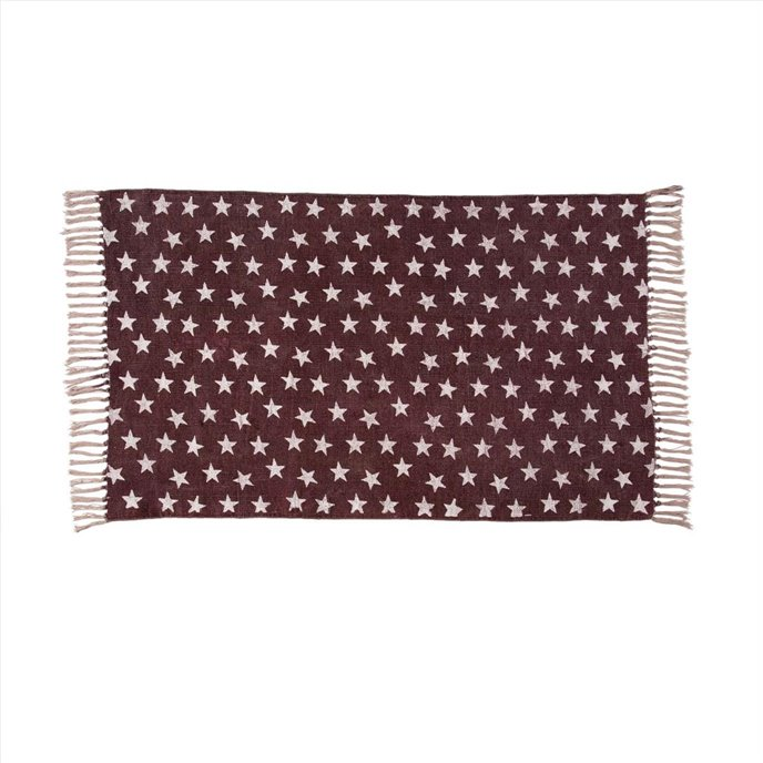Multi Star Red Cotton Rug Rect 27x48 Thumbnail