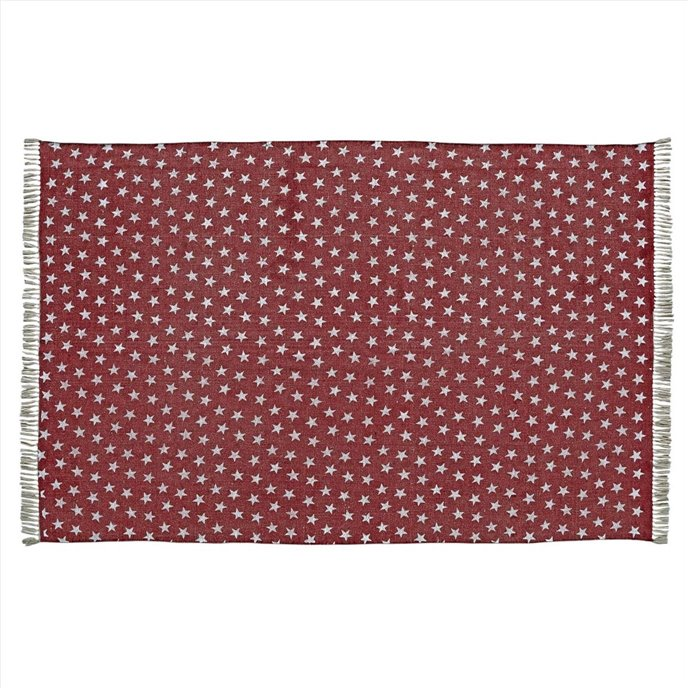 Multi Star Red Cotton Rug Rect 60x96 Thumbnail