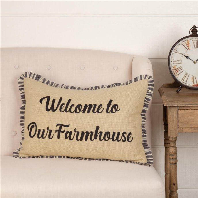 Ashmont Burlap Vintage Welcome to Our Farmhouse Pillow 14x22 Thumbnail