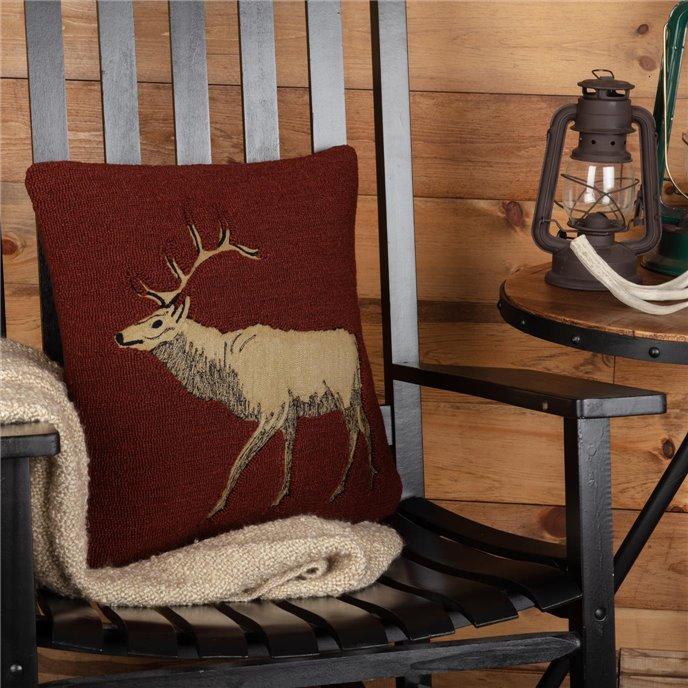 Beckham Elk Hooked Pillow 18x18 Thumbnail