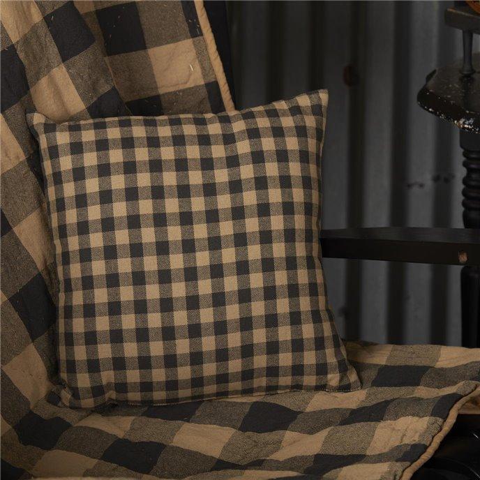 Black Check Fabric Pillow 12x12 Thumbnail