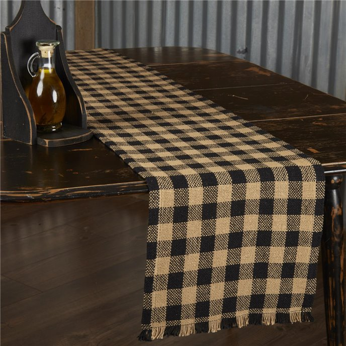 Burlap Black Check Runner Fringed 13x72 Thumbnail