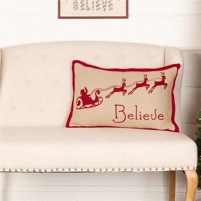 Burlap Santa Believe Pillow 14x22 Thumbnail