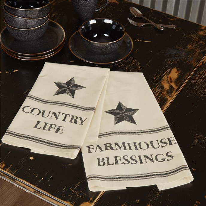 Farmhouse Star Country Life Muslin Unbleached Natural Tea Towel Set of 2 19x28 Thumbnail