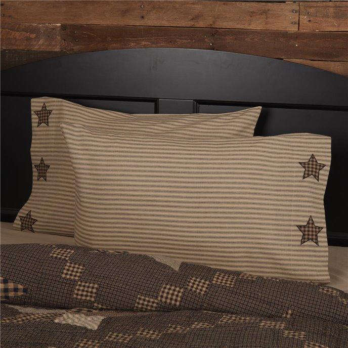 Farmhouse Star Standard Pillow Case w/Applique Star Set of 2 21x30 Thumbnail