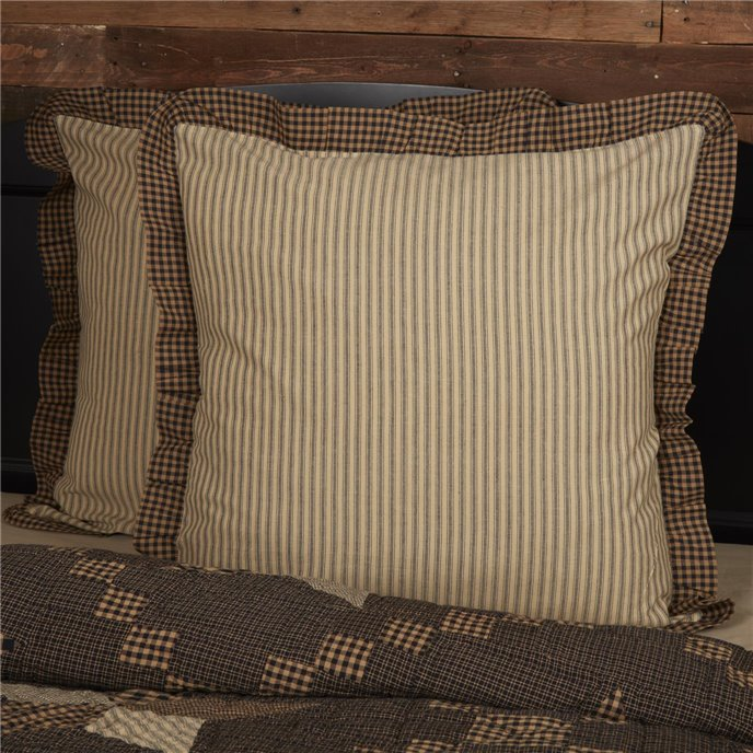 Farmhouse Star Ticking Stripe Fabric Euro Sham 26x26 Thumbnail