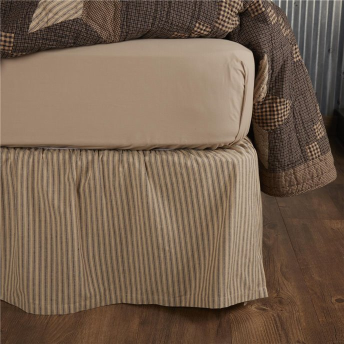 Farmhouse Star Ticking Stripe Twin Bed Skirt 39x76x16 Thumbnail