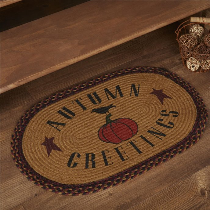 Heritage Farms Harvest Jute Rug Oval Autumn Greetings 20x30 Thumbnail