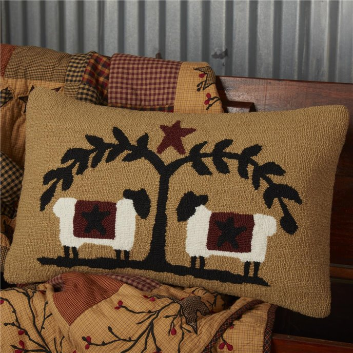 Heritage Farms Sheep and Star Hooked Pillow 14x22 Thumbnail