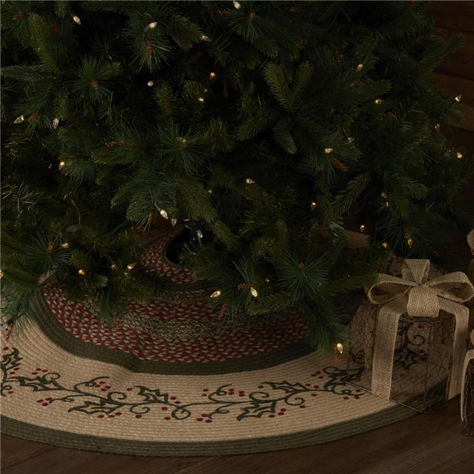 Holly Berry Jute Stencil Tree Skirt 55 Thumbnail