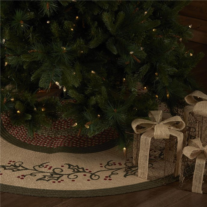 Holly Berry Jute Stencil Tree Skirt 60 Thumbnail
