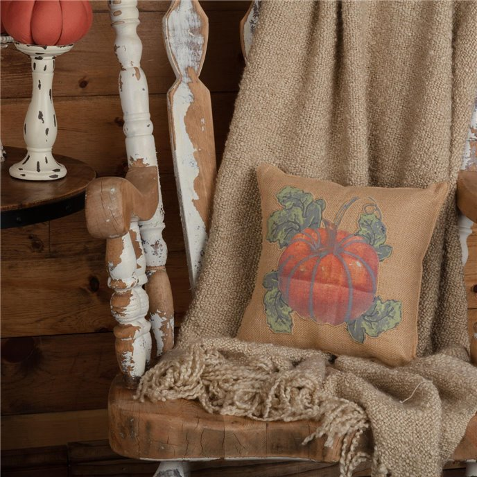 Jute Burlap Natural Harvest Garden Pumpkin Pillow 12x12 Thumbnail