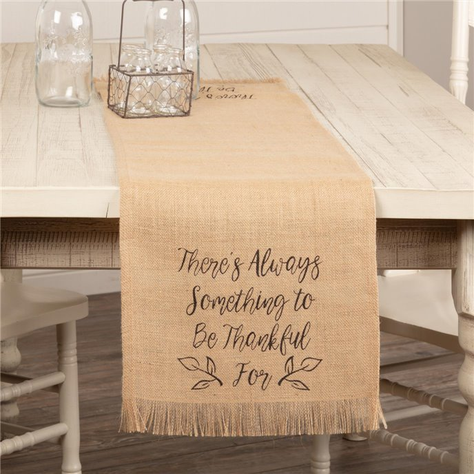 Jute Burlap Natural Thankful Runner 13x48 Thumbnail
