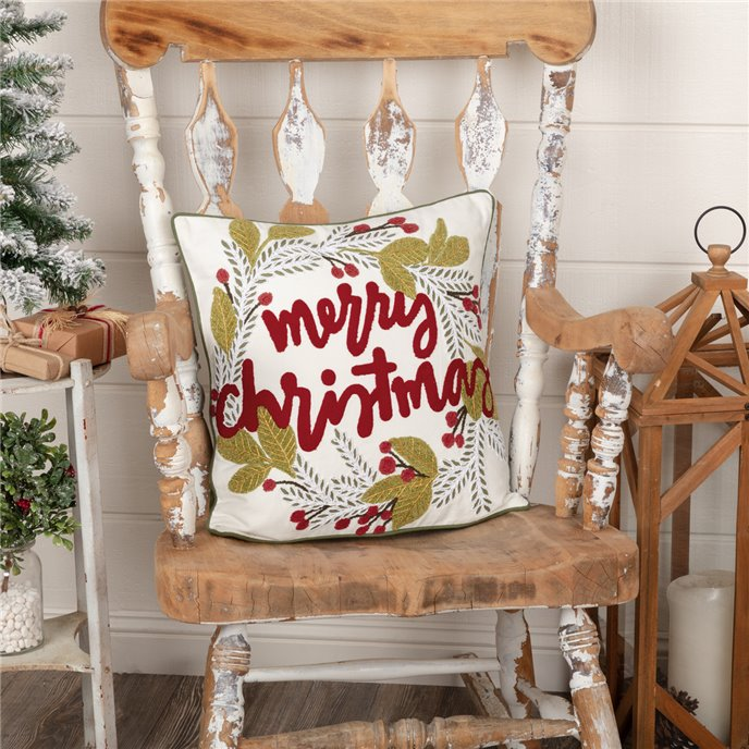 Merry Christmas Wreath Pillow 18x18 Thumbnail
