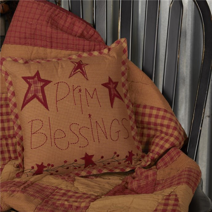 Ninepatch Star Prim Blessings Pillow 12x12 Thumbnail