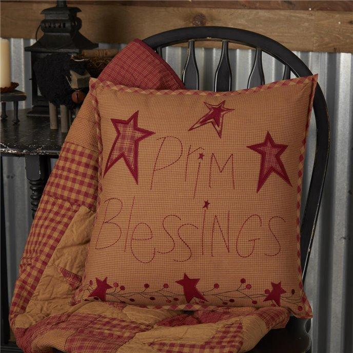 Ninepatch Star Prim Blessings Pillow 18x18 Thumbnail