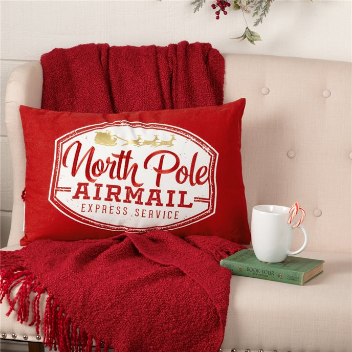 North Pole Airmail Pillow 14x22 Thumbnail