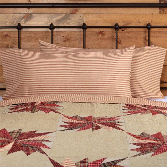 Ozark Red Ticking Stripe King Pillow Case Set of 2 21x40 Thumbnail
