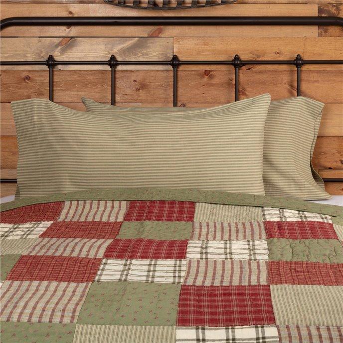 Prairie Winds Green Ticking Stripe King Pillow Case Set of 2 21x40 Thumbnail