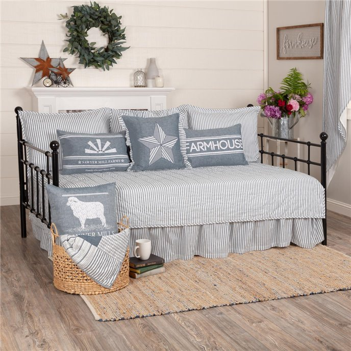 Sawyer Mill Blue Ticking Stripe 5pc Daybed Quilt Set (1 Quilt, 1 Bed Skirt, 3 Standard Shams) Thumbnail