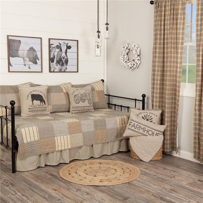Sawyer Mill Charcoal 5pc Daybed Quilt Set (1 Quilt, 1 Bed Skirt, 3 Standard Shams) Thumbnail