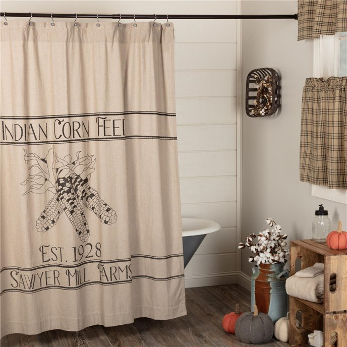 Sawyer Mill Charcoal Corn Feed Shower Curtain 72x72 Thumbnail