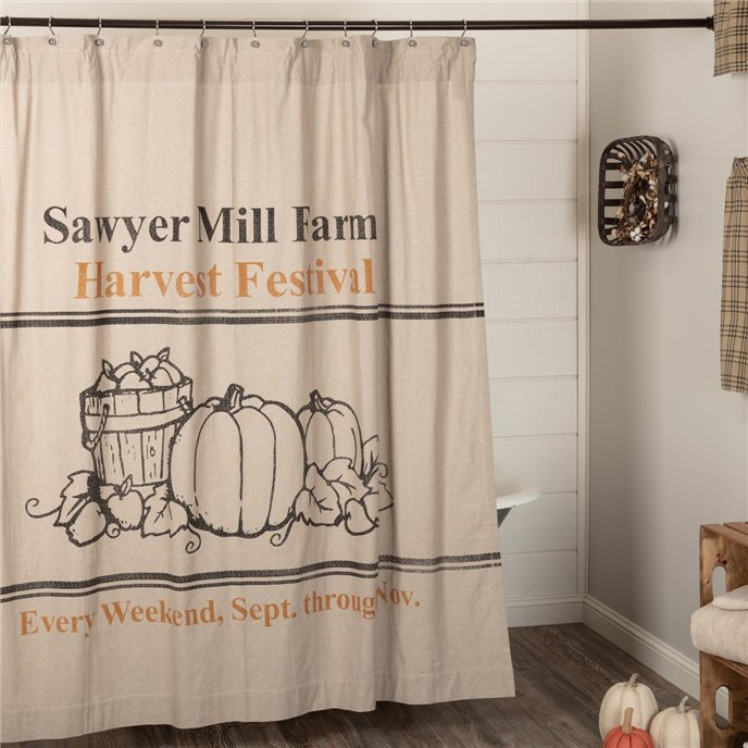 Sawyer Mill Charcoal Harvest Festival Shower Curtain 72x72 Thumbnail