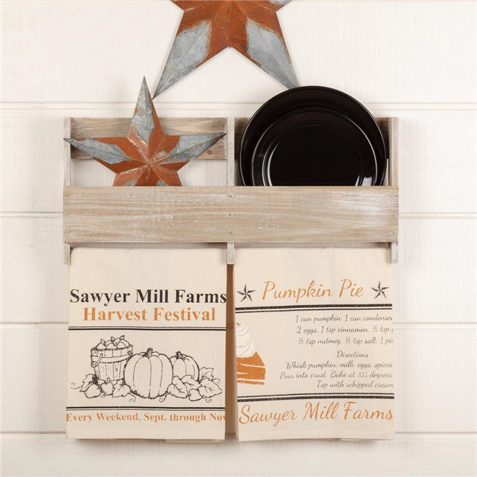 Sawyer Mill Charcoal Harvest Muslin Unbleached Natural Tea Towel Set of 2 19x28 Thumbnail