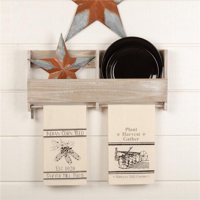 Sawyer Mill Charcoal Plow & Corn Muslin Unbleached Natural Tea Towel Set of 2 19x28 Thumbnail
